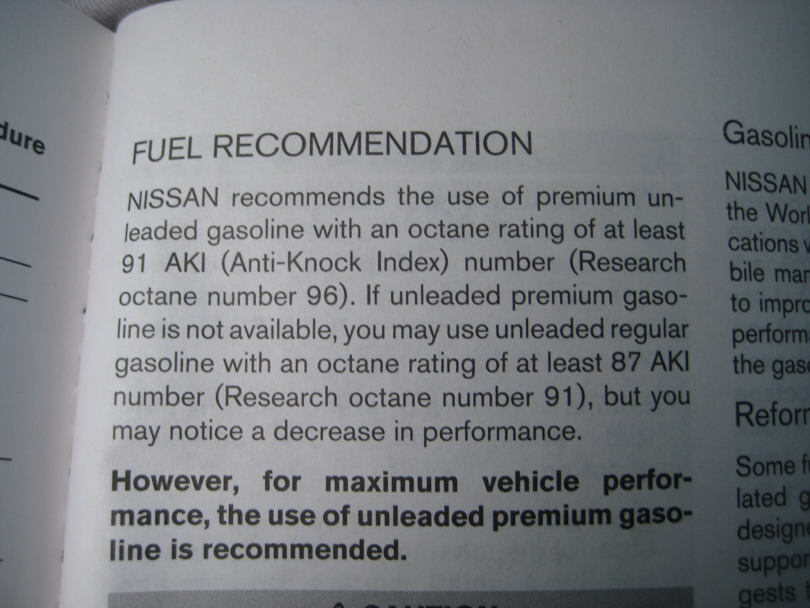 Nissan Sentra Owners Manual: Fuel recommendation