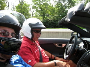 Me (in blue), and my instructor in the Jaguar F-Type